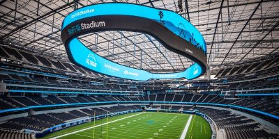 INGLEWOOD, CALIFORNIA - SEPTEMBER 08: The interior of SoFi Stadium is seen following a ribbon-cutting event on September 08, 2020 in Inglewood, California.  (Photo by Rich Fury/Getty Images for Hollywood Park Management Company)